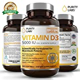 VITAMIN D3 5000IU Supplements - 240 Gelcaps Support Healthy Bones, Muscles, Skin, Teeth & Immune System - 8 Months Supply enhanced with Lanolin by Purity Labs