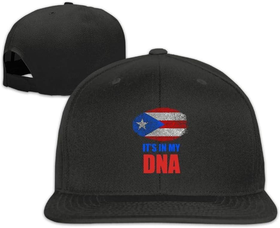 ouyjian Gorra de béisbol Plana para Hombres y Mujeres, Bandera Ajustable de Puerto Rico Está en mi Gorra de béisbol Snapback de mi ADN
