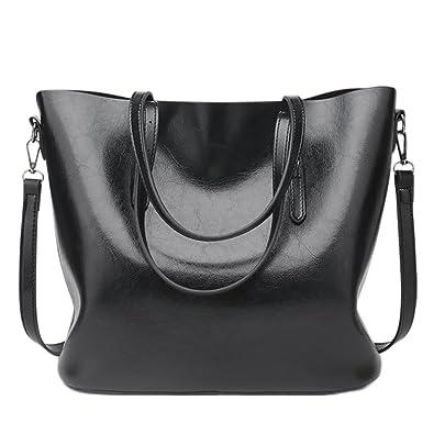 fc70a78e5222f QZUnique Women s PU Leather Large Bucket Bag Casual Tote Handbag Cross Body  Shoulder-bag Black