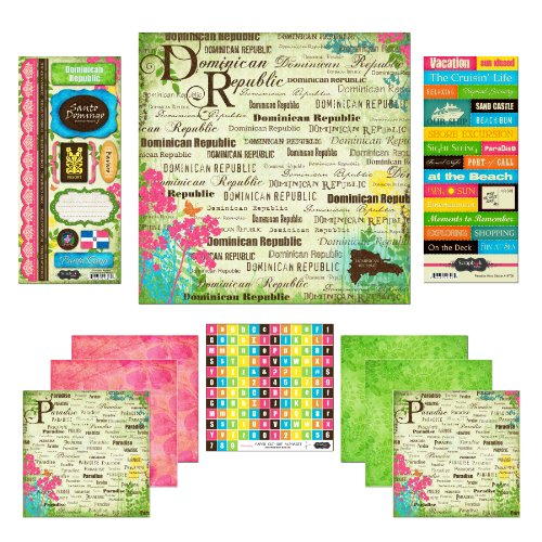 Scrapbook Customs Themed Paper and Stickers Scrapbook Kit, Dominican Republic Paradise (Dominican Republic Scrapbooking)
