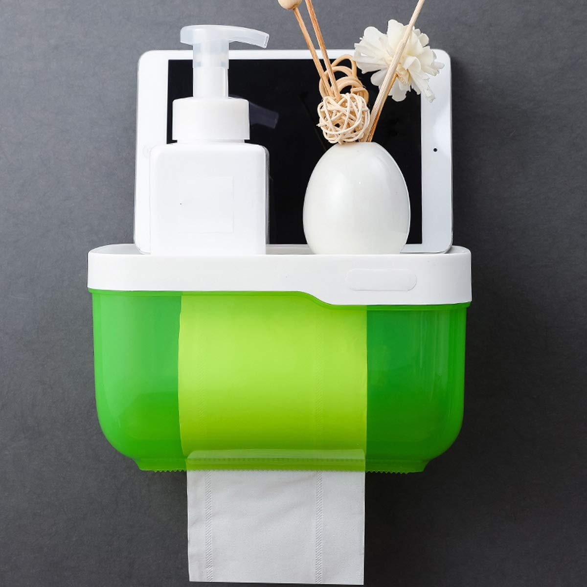 HAOMINGTIAN Tissue Box - Multi-Function Toilet Paper Holder Wall-Mounted Punch-Free Tissue Box with Storage Rack for Mobile Phone, Suitable for Bathroom or Kitchen Color : Green(M)