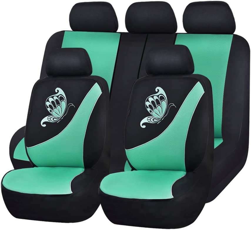 Flying Banner 11 PCS Full Set Universal Car Seat Covers Green Color Mesh Polyester Sponge Butterfly Embroidery Cushioned Breathable fit Car Truck Van SUV