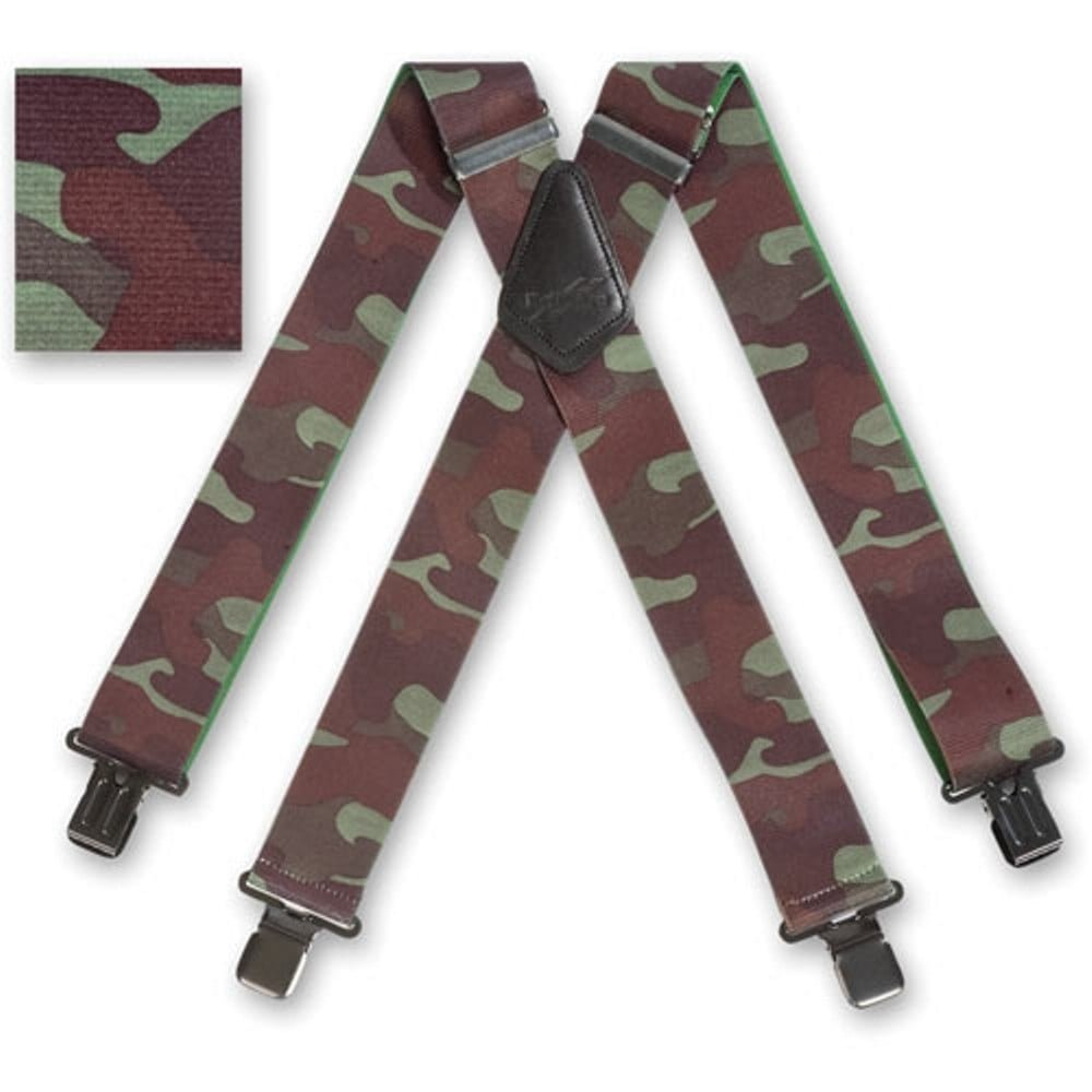 "Brimarc Mens Braces Heavy Duty Suspenders 2/"" 50mm Wide Woodland Camo Braces"