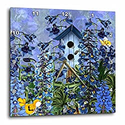 3dRose dpp_79436_2 Larkspur Garden Julys Birth Flower with Birdhouse and Butterflies Perfect for The July Birthday-Wall Clock, 13 by 13-Inch