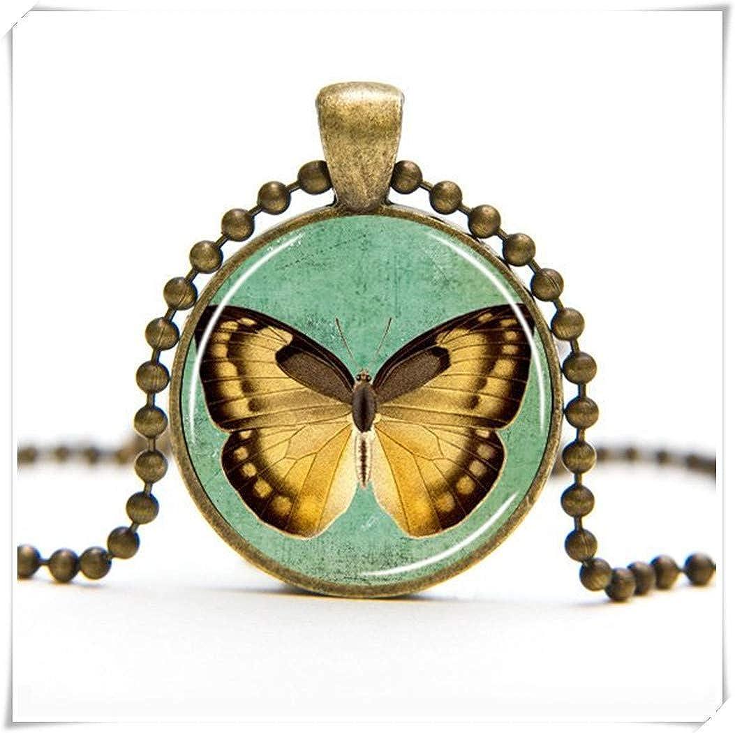Dandelion Yellow Butterfly Necklace, Butterfly Art Pendant, Butterfly Jewelry, Insect Pendant,Art to Wear Pendant, Wearable Art, Butterfly Gift wish dandelion