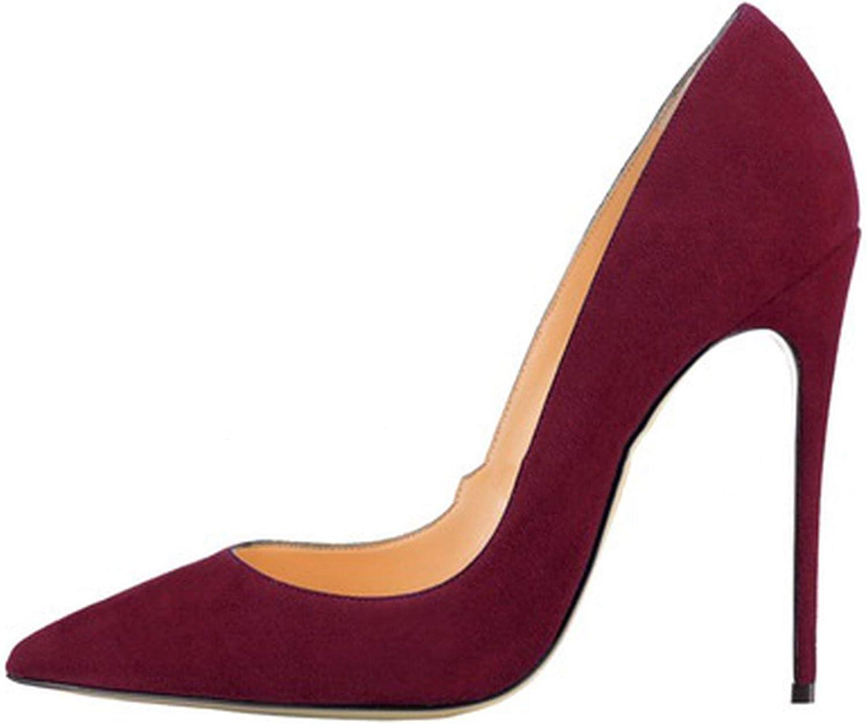 FJ-Direct Pointed Toe Stiletto Heels Dress Pumps Shallow Slip-on 12cm Ultra High Heel Banquet Shoes Purple Yellow Blue,Green 12cm,38