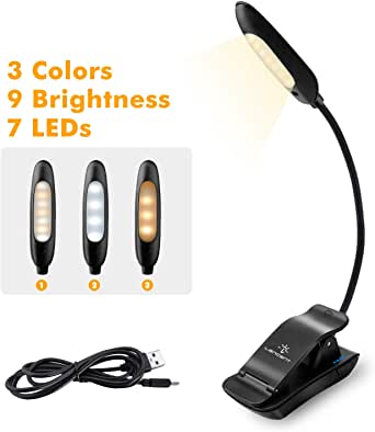 LENCENT 7 LED Book Light Rechargeable[Upgraded], 3 Colors and 9 Brightness Modes (Warm & White), Eye Care Clip Reading Lamp for Kids and Bookworms, Lightweight for Reading in Bed, Travel, Music Stand