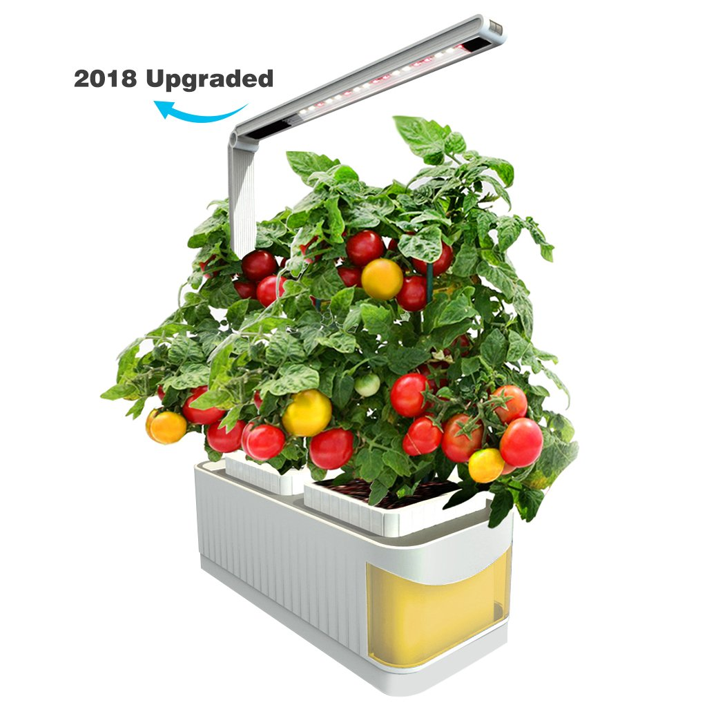 Finether Hydroponic Growing System Kit with LED Grow Light,2 Gardening Pots,360 Degree Adjustable Arm,Low Water Alarm,Sensitive Touch Control for Home,Indoor,Kitchen,Plants,Herbs,Yellow(2018 Advanced)