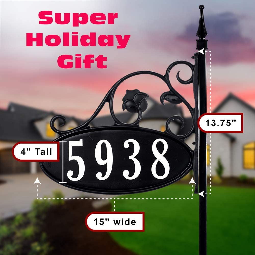USA Handcrafted -Yard Sign Address Plaque with Highway-Grade Reflective Vinyl House Numbers Wrought Iron Look, Oval, Black, Double Sided House Plate, ...