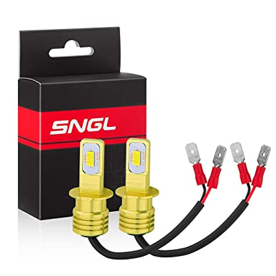 SNGL H3 LED Fog Light Bulbs yellow 3000k Extremely Bright High Power H3 LED Bulb for DRL or Fog Light Lamp Replacement (pack of 2): Automotive