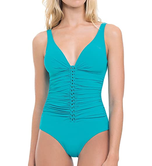 ec445e6872234 Profile by Gottex Women's Waterfall One Piece Tank (D Cup) Swimsuit Jade  18D at Amazon Women's Clothing store: