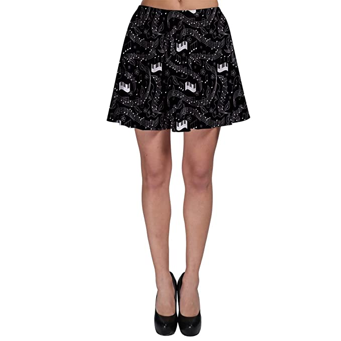 ff7d0f616a CowCow Black Beautiful Musical Pattern with Notes and Piano Keyboard Skater  Dress