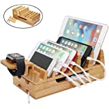 Bamboo Charging Station, Pezin & Hulin Docking Stations Organizer Stand for Multiple Devices Charge Such As Mobile Phone, Tablets, ipad, iphone, Phone Case and Apple Watch