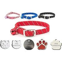 JK Ancol Sicherheits-Halsband für Katzen, reflektierend, weiches Gewebe, mit optionaler Gravur
