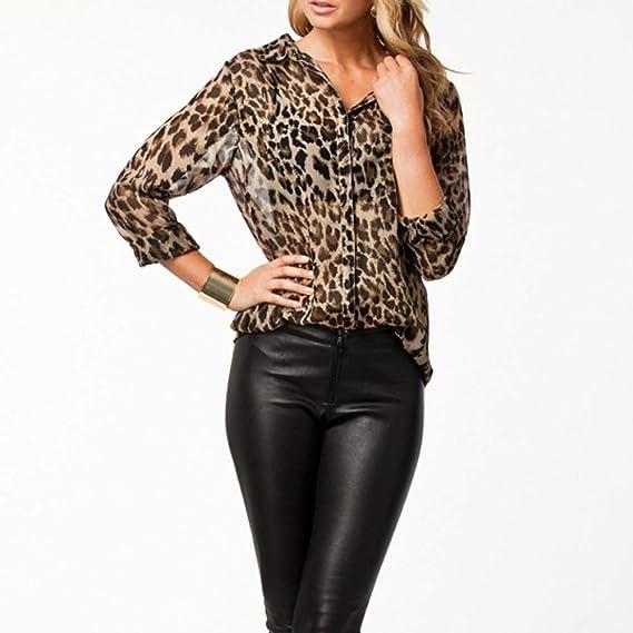 Camiseta Mujer Otoño Moda Leopardo Impresión Manga Larga Elegante Blusa Camisa Cuello en v Camiseta de Gasa Suelto Tops Casual Fiesta T-Shirt Original tee vpass: Amazon.es: Ropa y accesorios
