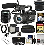JVC GY-LS300CHU Ultra 4K HD 4KCAM Super 35 Pro Camcorder & Mic Top Handle Audio Unit Panasonic 12-35mm f/2.8 II Lens + 64GB Card + Case + LED Video Light + Fisheye Lens Kit