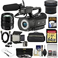 JVC GY-LS300CHU Ultra 4K HD 4KCAM Super 35 Pro Camcorder & Mic Top Handle Audio Unit with Panasonic 12-35mm f/2.8 II Lens + 64GB Card + Case + LED Video Light + Fisheye Lens Kit