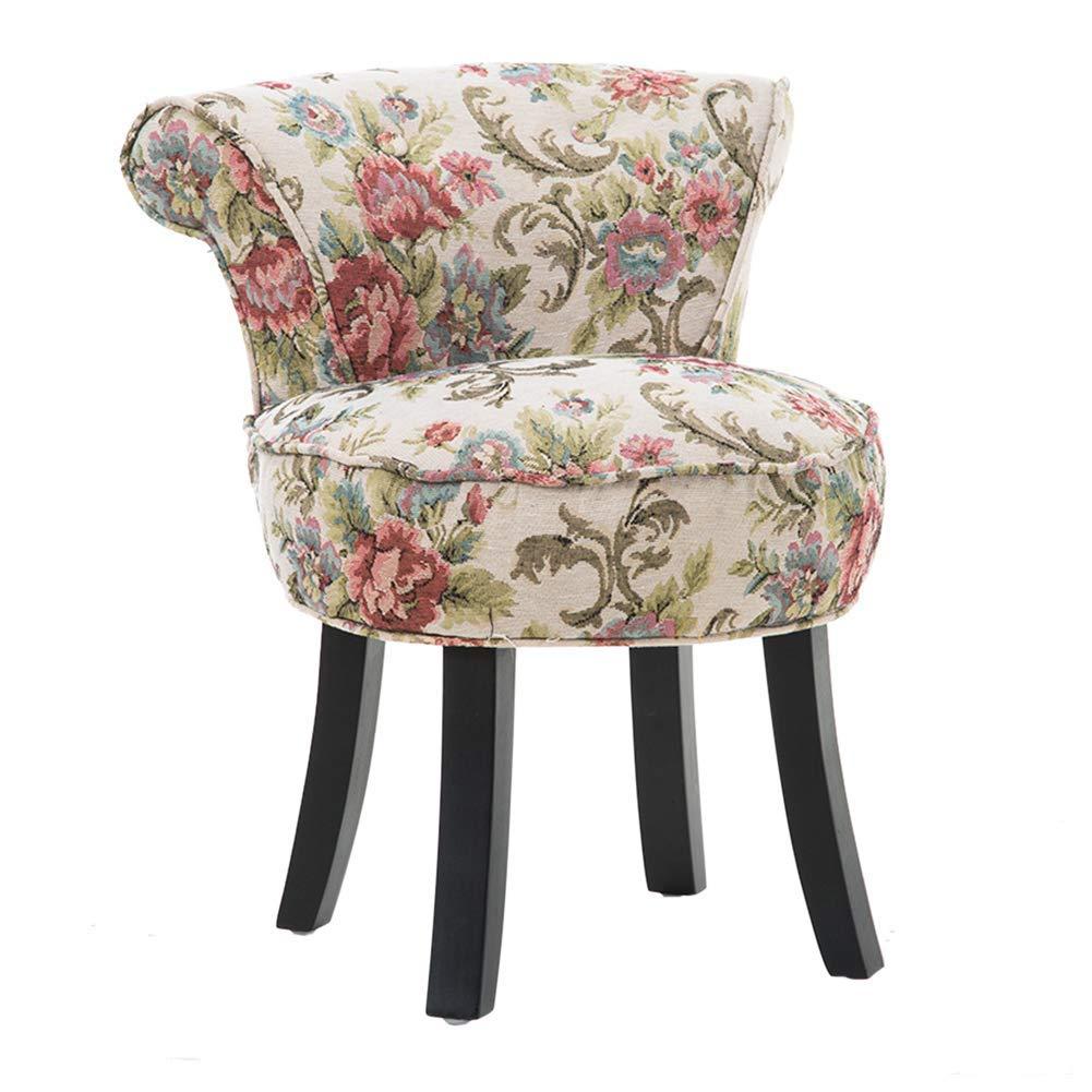 Chaise de piano baroque Chambre à coucher Tabouret De Maquillage Fauteuil Chaise de salle à manger Cadre en bois Chaise de bureau Tabouret de bar rembourré Confortable Couverture en tissu,Blue