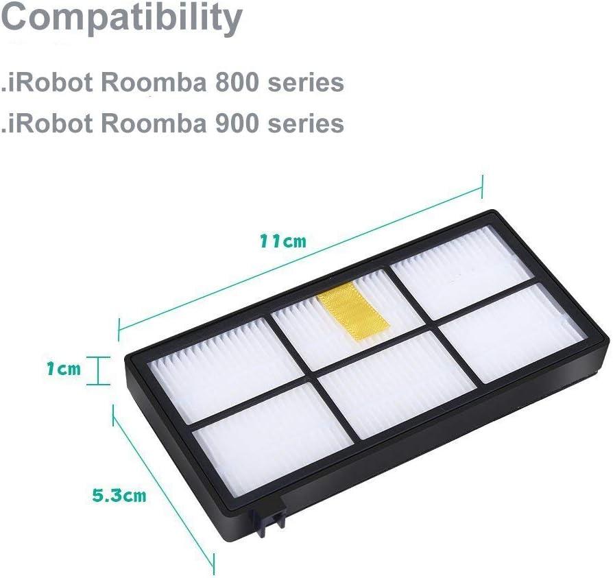 AplusTech Kit Accesorios de 6 Filtros y 3 Cepillos de 3-Armada 3 Tornillos para iRobot Roomba Serie 800 y Serie 900.