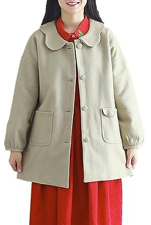 a4290be985bcc4 Amazon | レディース アウター コート 襟付き かわいい ハーフ丈 ウール ボタン シングル 上品 防寒 K12934 | コート・ジャケット  通販