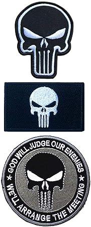 Ohrong - 3 parches bordados con calavera militar de la moral del ejército militar con apliques con gancho y la parte trasera de lazo para gorras y chaquetas de jeans (negro): Amazon.es:
