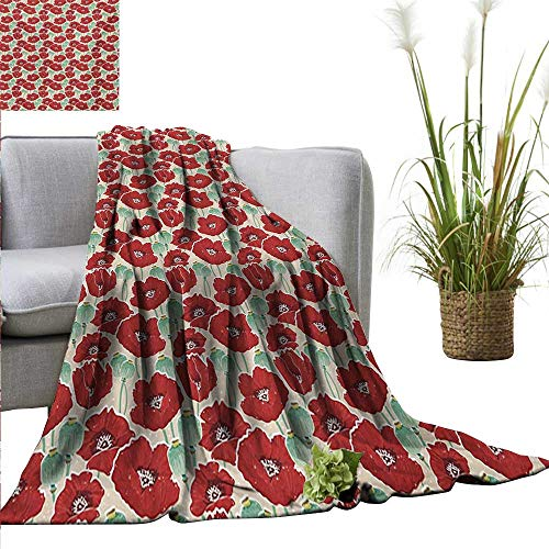 homehot Poppy Super Soft BlanketsSpring Garden Pattern with Red Blossoms Seed Capsules and Little Dots Fall Winter Spring Living Room 55