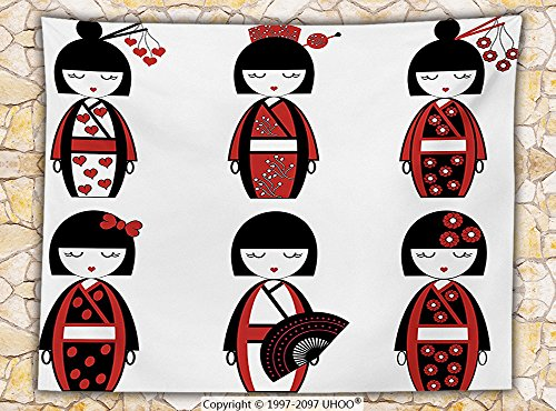 Girly Decor Fleece Throw Blanket Unique Asian Geisha Dolls in Folkloric Costumes Outfits and Hair Sticks Kimono Art Image Throw Black Red