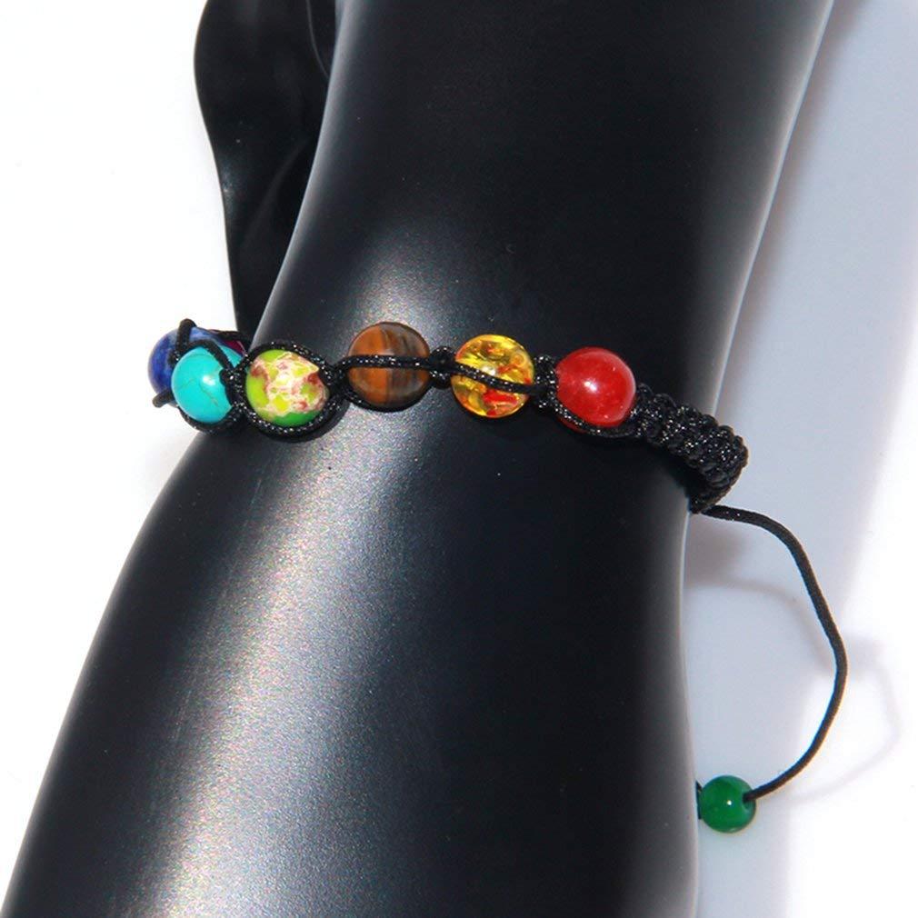 ningbao951 Colorful Seven Chakra Energy Yoga Beads Volcanic Stone Beaded Bracelet