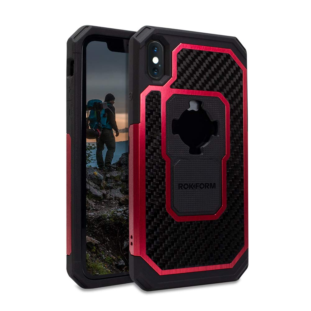 sale retailer 161d1 3381d Rokform Fuzion Pro Series [iPhone Xs Max] Protective Aluminum & Carbon  Fiber Magnetic case with Twist Lock Insert Included (Red)