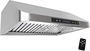 "Awoco 36"" Supreme Series 10"" High 1mm Stainless Steel Under Cabinet 4 Speeds 1000CFM Touch Sensor Panel Range Hood w/ 2 LED Lights & Remote Control (RH-S10-36"")"