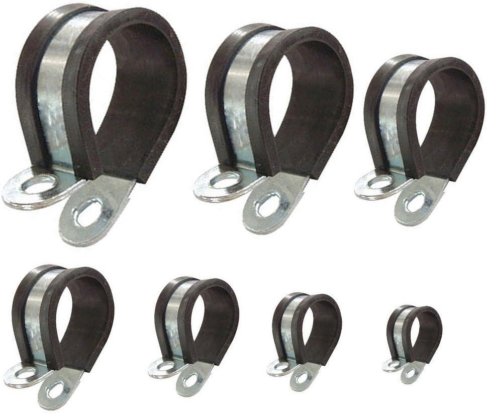 Abrazadera para tubo con perfil de goma P-clips recubiertos para asegurar tuber/ías cables mangueras /Ø 10mm 10 unidades banda 15mm