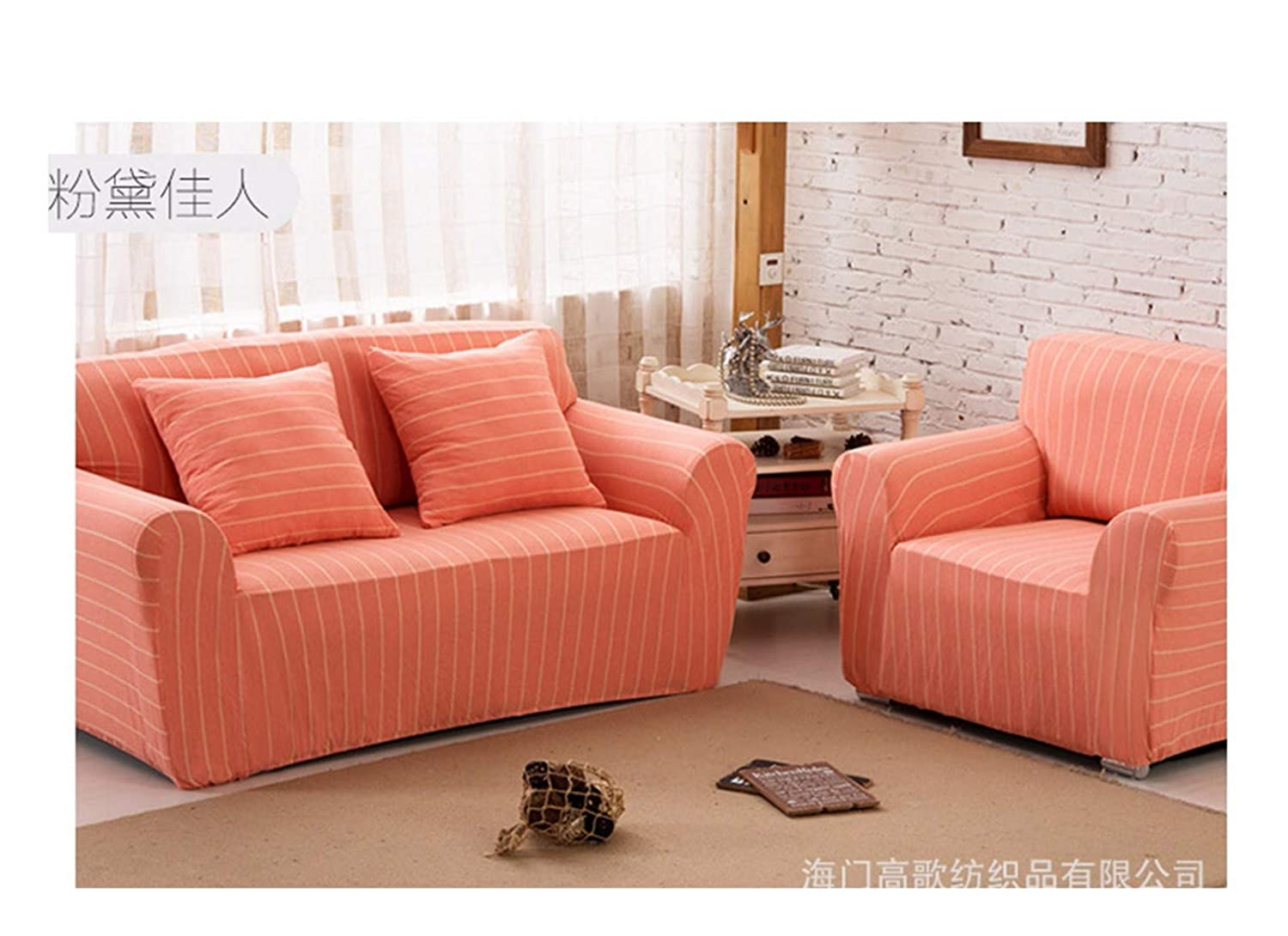 3seat VGUYFUYH orange-White Stripes Skid-Proof Sofa Cover Cotton Full Package Elasticity Household Versatile Four Seasons Sofa Cover Simple Fashion One Set Durable Dustproof Pet Dog Predective Cover,3S