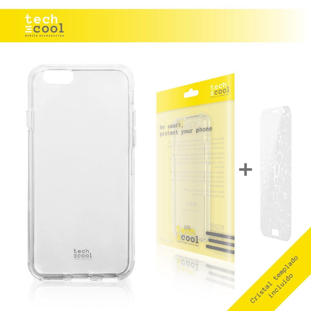 Ultra Slim 1,5mm-Gran Resistencia + Gel Silicona Flexible Alta Calidad Set Funda Transparente para Iphone 6 // 6S TechCool/® Cristal Templado 0,3 mm, HD, 9H, Resistente a Golpes