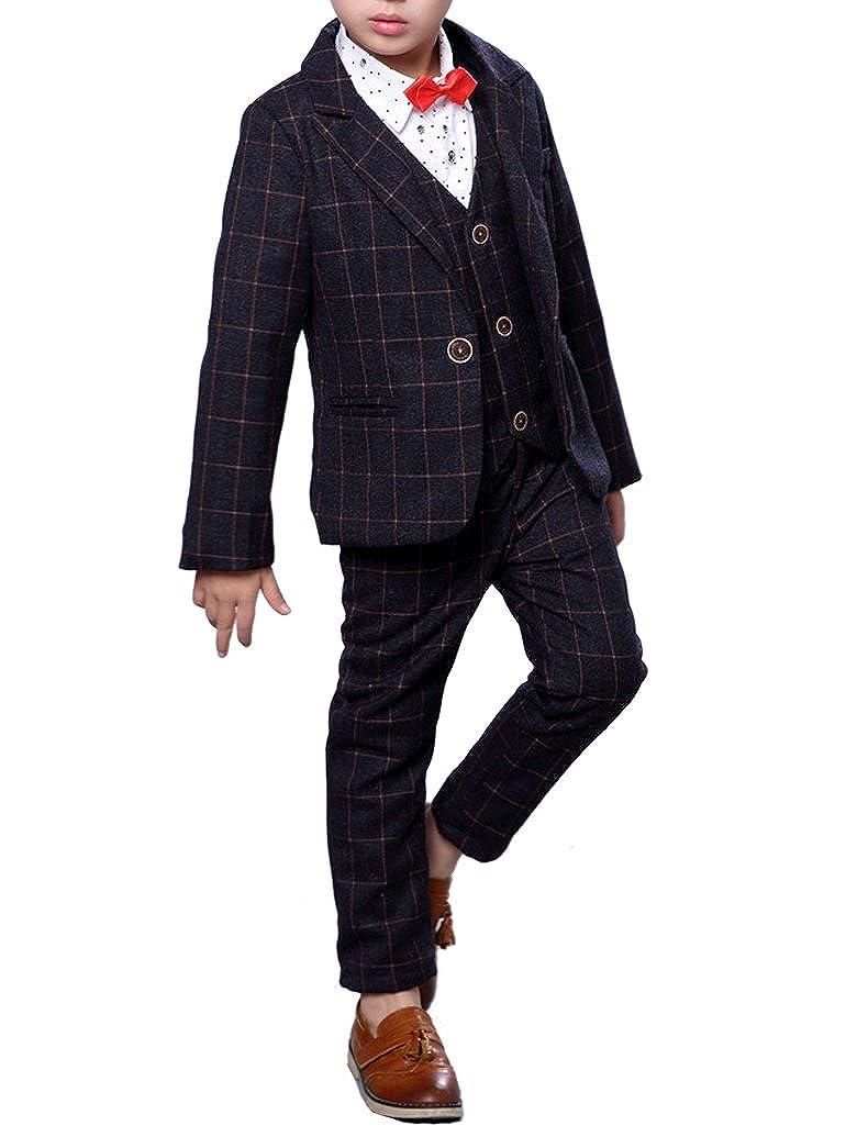Boys Plaid Suits 3 Pieces Jacket Vest and Pants Set Blue Gray and Purple