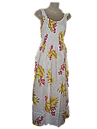 891f88d71405 Hawaiian Pink Plumeria Floral Print Long Tank Top Summer Luau Cruise  Vacation Sundress ONE Size (M-XL-See Measurements) tc083 at Amazon Women's  Clothing ...