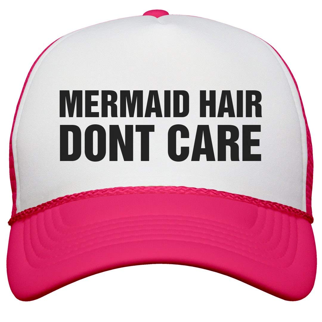 Mermaid Hair Don't Care: Neon Snapback Trucker Hat
