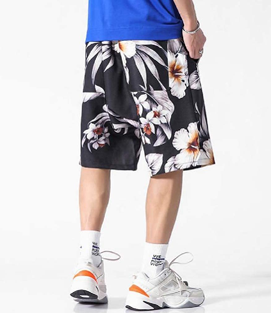Zimaes-Men Plus Size Shorts Aloha Floral Print Summer Loose Boardshorts