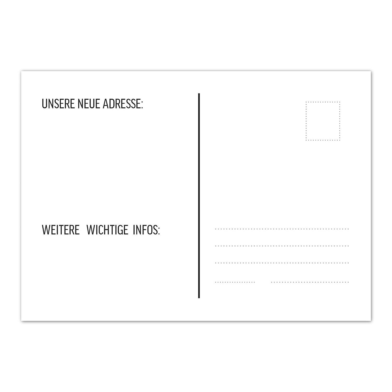 16 x Postkarten für Umzug Motiv Kartonhaus Wohnungswechsel,Auszug,neue Adresse