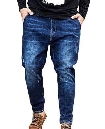 fb8a98af7a95 SK Studio Herren Jeanshose Mit Gummizug Loose Fit Baumwolle Crop Jeans  Hosen Große Größen Haremhose Für Männer  Amazon.de  Bekleidung
