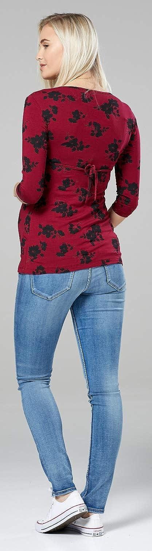 Happy Mama Womens Maternity Nursing Top Stretch 3//4 Sleeve Tunic 8-18 372p