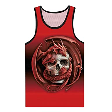 ba04d412a5d25 vermers Big Promotion Men s Casual Skull Tank Tops Fashion 3D Printed  Muscle Sleeveless Vest T Shirts