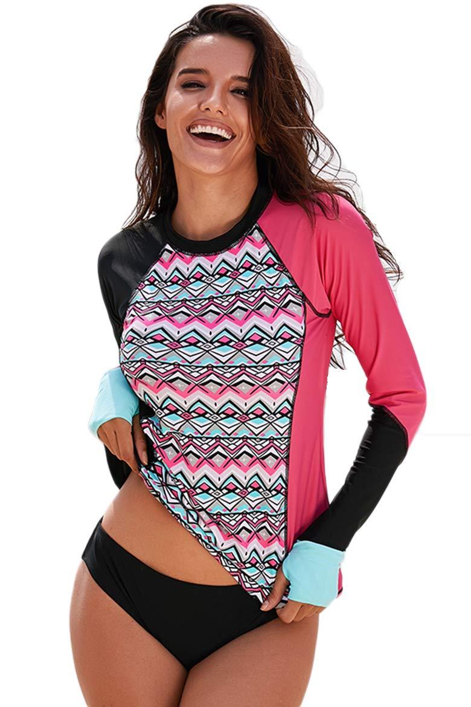 Cokarsey Womens Long Sleeve Swim Surf Rash Guard Athletic Swimsuit Tops with Thumb Holes