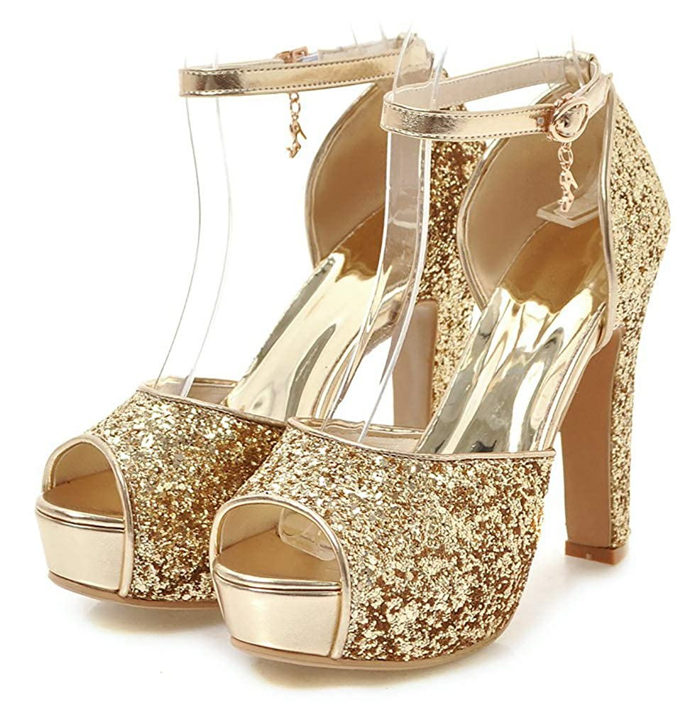 Women's Gold Glitter Peep Toe Ankle Strap Chunky High-Heel Platform Sandals - DeluxeAdultCostumes.com