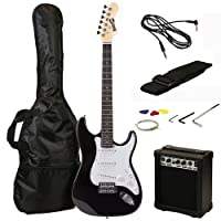 RockJam Full Size Electric Guitar Superkit with Amp, Strings, Strap, Case and Cable - Black