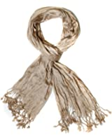Elegant Light Weight Silk-cotton Scrunch Fringe Scarf, Many Colors
