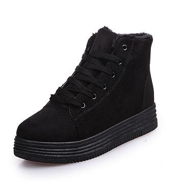 Good888 Women Winter Boots Suede Warm Platform Snow Ankle Boots. (7.5-(24.5 cm.) Black)