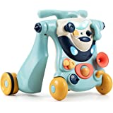 BABY JOY Sit to Stand Walker, 3 in 1 Baby Walker, Ride on Toy Car, Kids Activity Center w/Lights& Music, Stable…