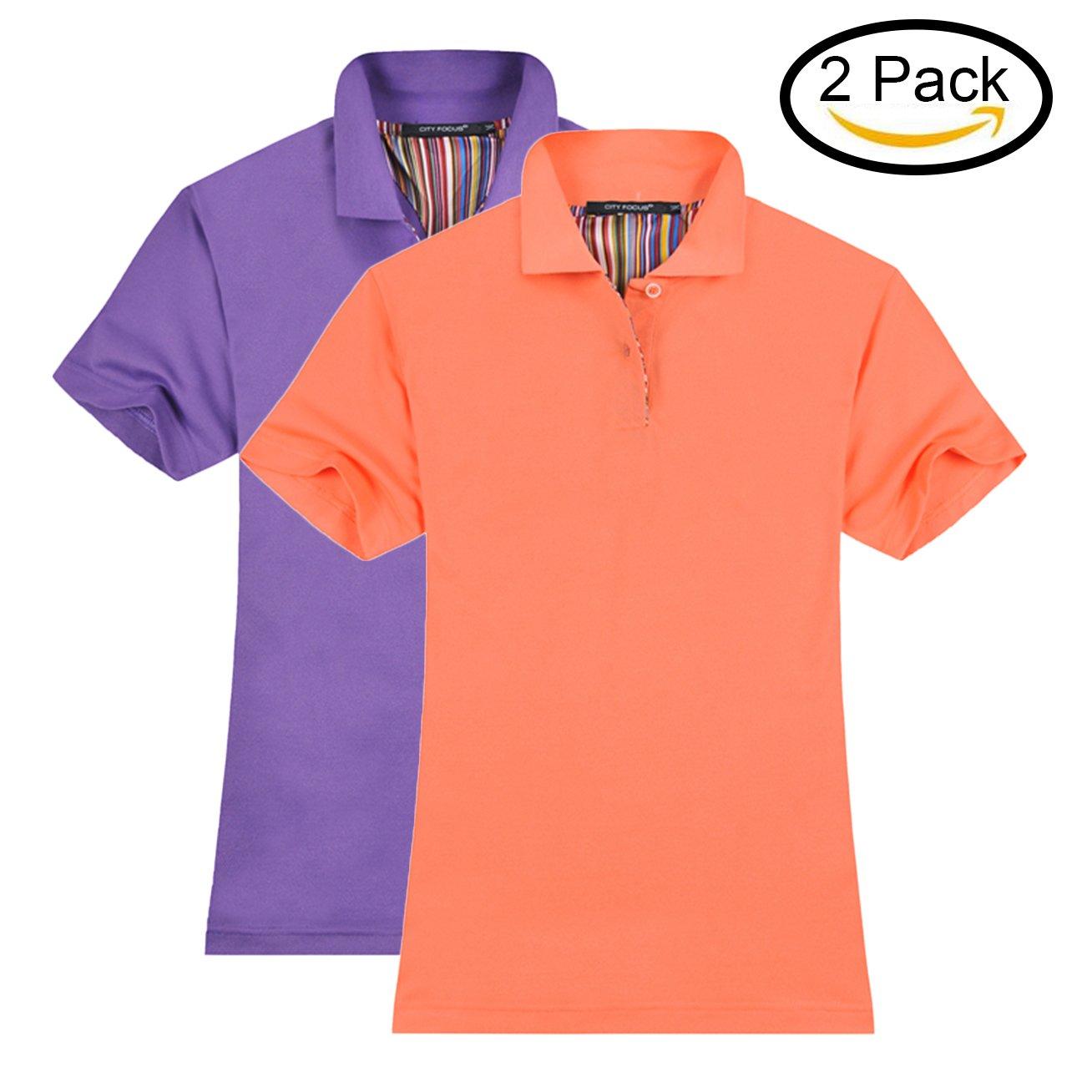 MTTROLI Womens Polo Shirts, Ladies Stretch Polo Shirts Short Sleeve Tops Workwear Pack Of 2