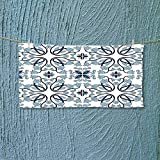 Swimmer Towel Decor Medieval Persian Palace Flower Leaf Shapes Arabian Decor Artwork Light Blue Moisture Wicking L35.4 x W11.8 inch