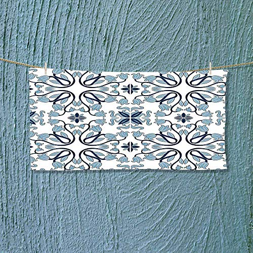 Swimmer Towel Decor Medieval Persian Palace Flower Leaf Shapes Arabian Decor Artwork Light Blue Moisture Wicking L35.4 x W11.8 inch by Nalahome